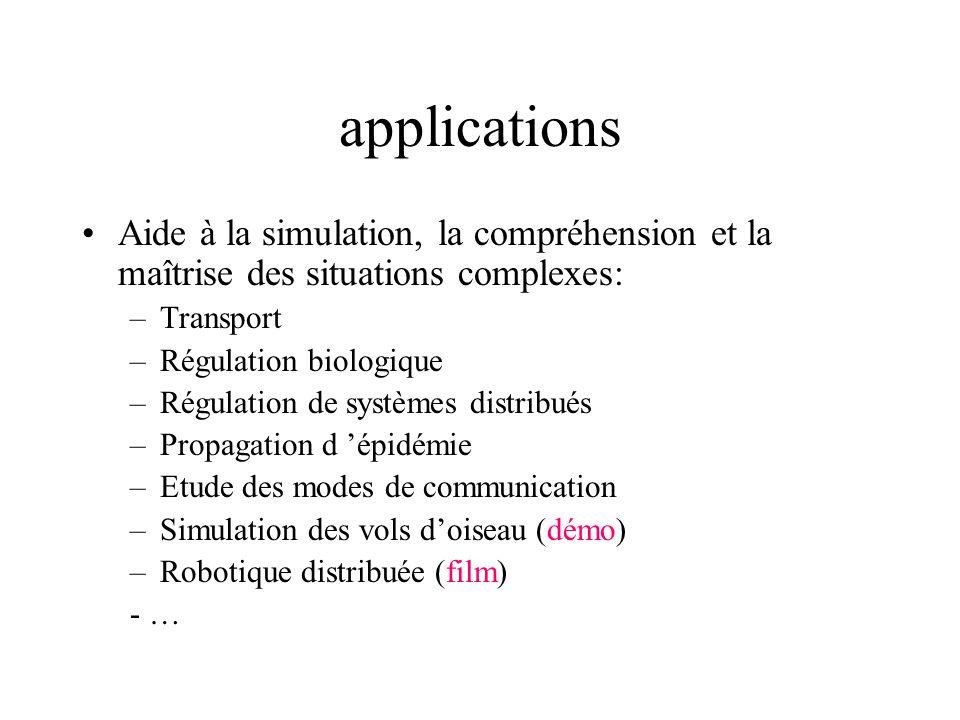 applications Aide à la simulation, la compréhension et la maîtrise des situations complexes: Transport.