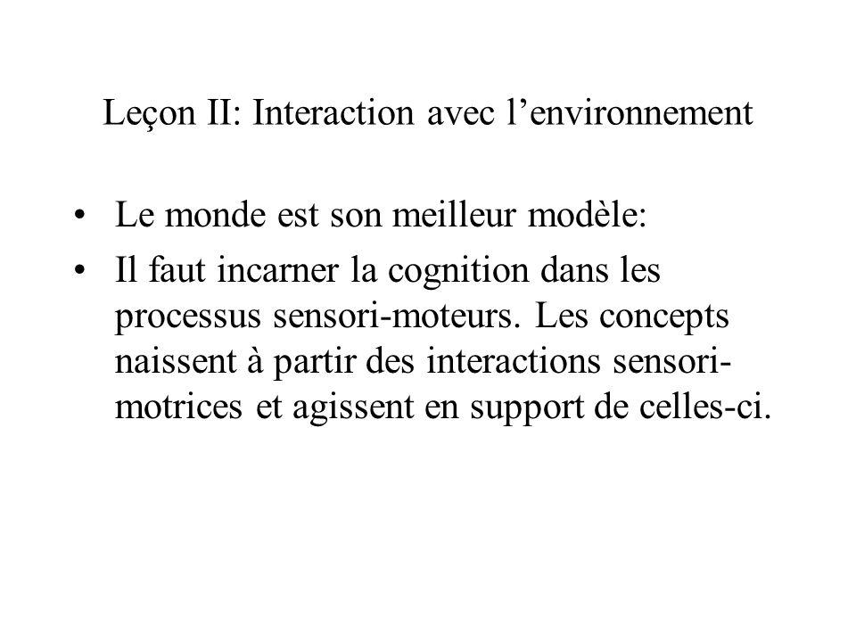 Leçon II: Interaction avec l'environnement