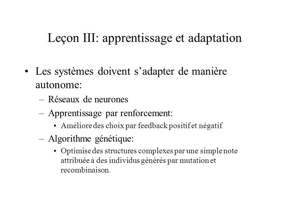 Leçon III: apprentissage et adaptation