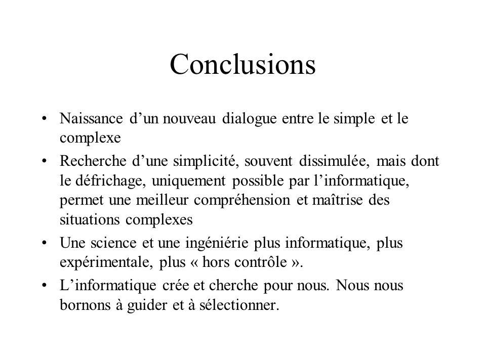 Conclusions Naissance d'un nouveau dialogue entre le simple et le complexe.