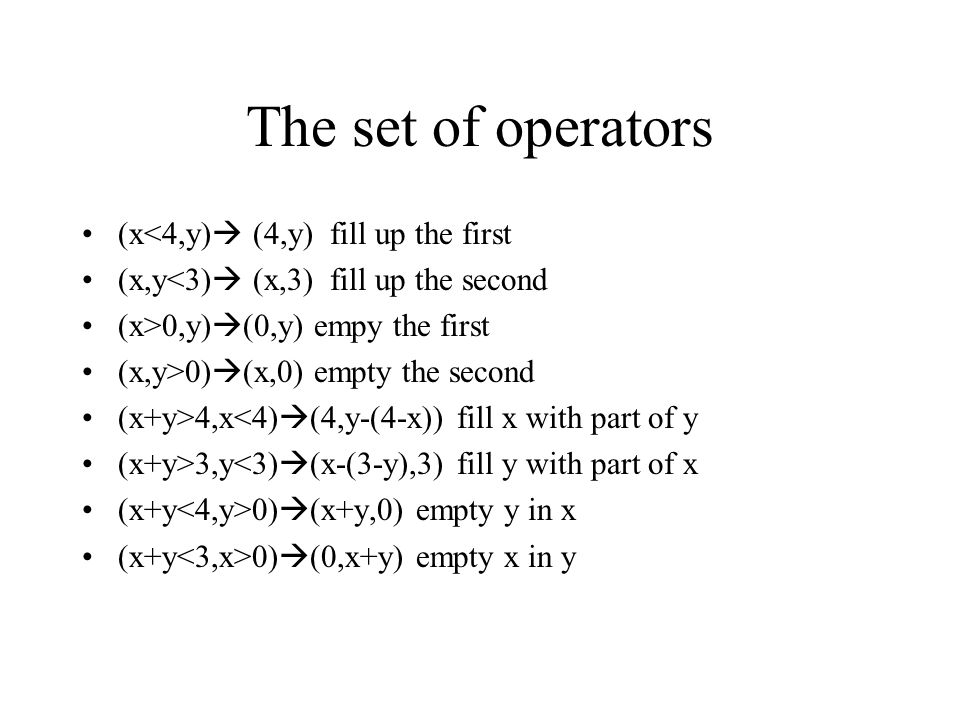 The set of operators (x<4,y) (4,y) fill up the first