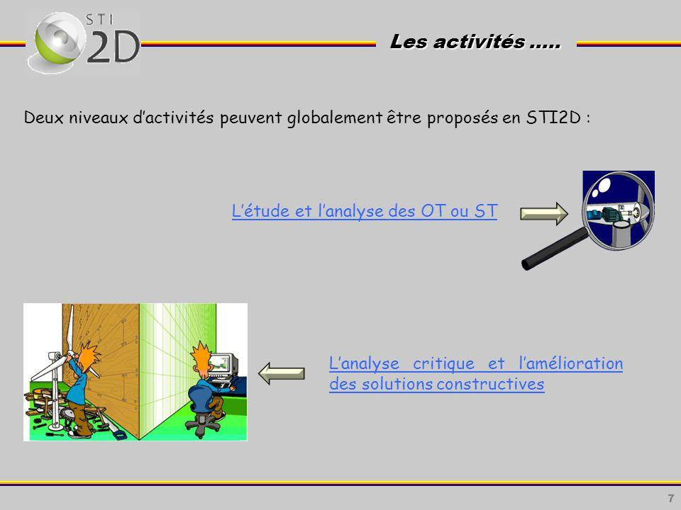 Les activités ….. Deux niveaux d'activités peuvent globalement être proposés en STI2D : L'étude et l'analyse des OT ou ST.