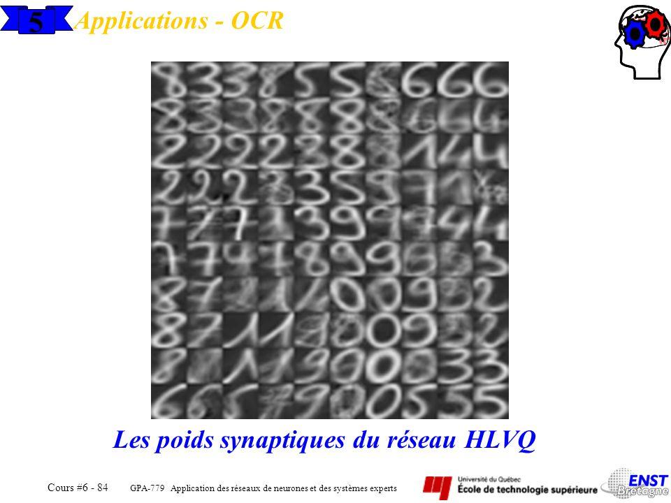 Applications - OCR 5 Les poids synaptiques du réseau HLVQ