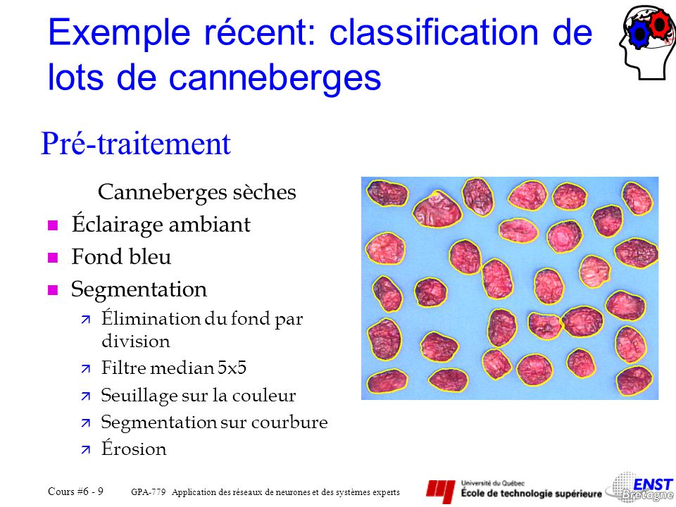 Exemple récent: classification de lots de canneberges