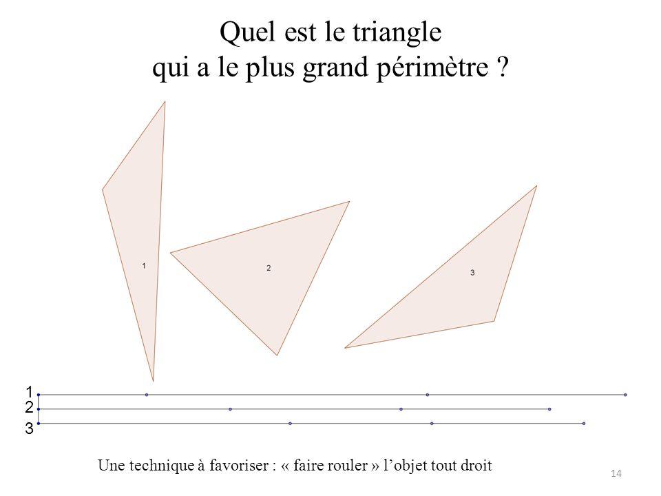 Quel est le triangle qui a le plus grand périmètre