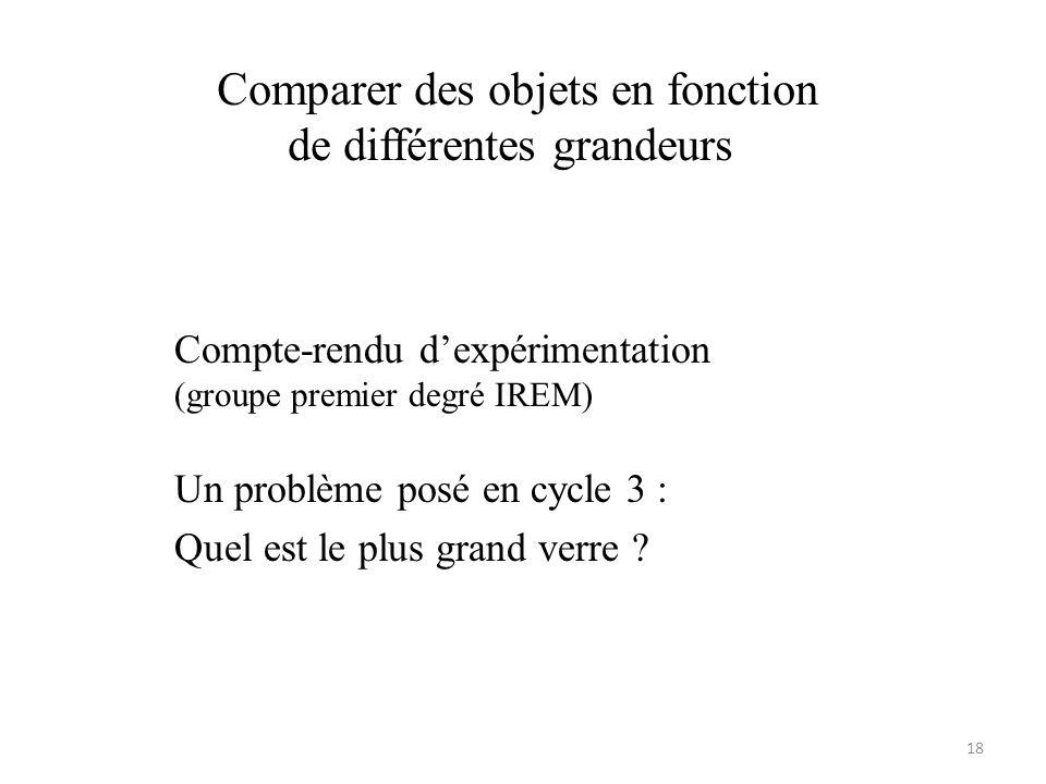 Comparer des objets en fonction de différentes grandeurs