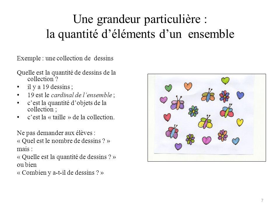 Une grandeur particulière : la quantité d'éléments d'un ensemble