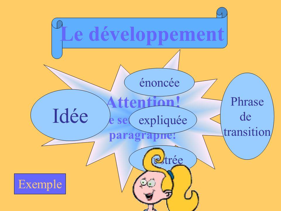 Le développement Idée Attention! énoncée Une seule idée par Phrase