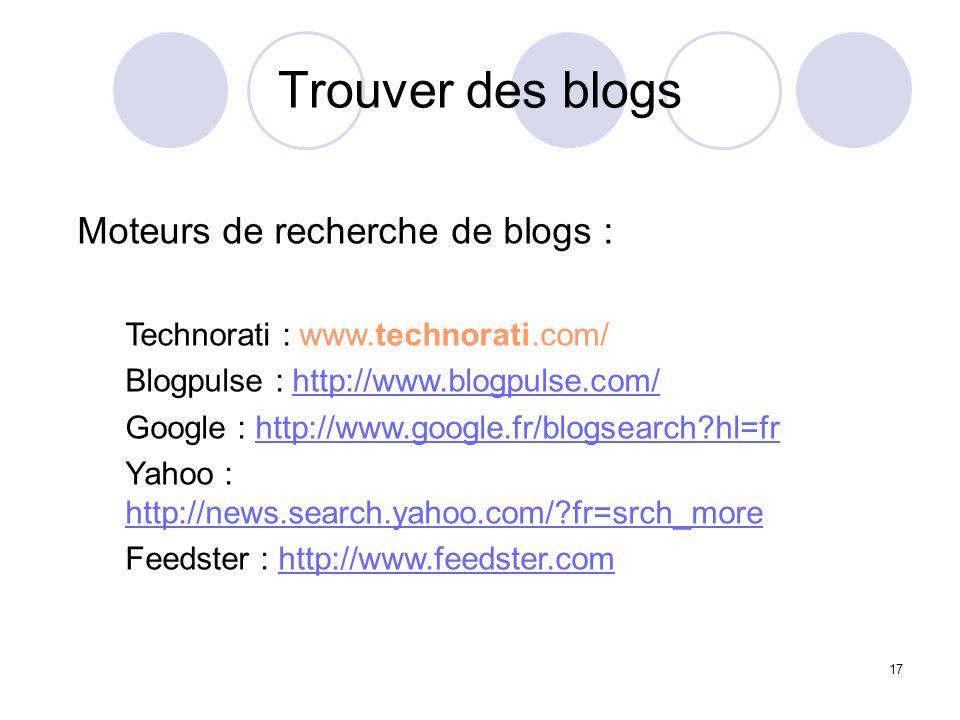Trouver des blogs Moteurs de recherche de blogs :