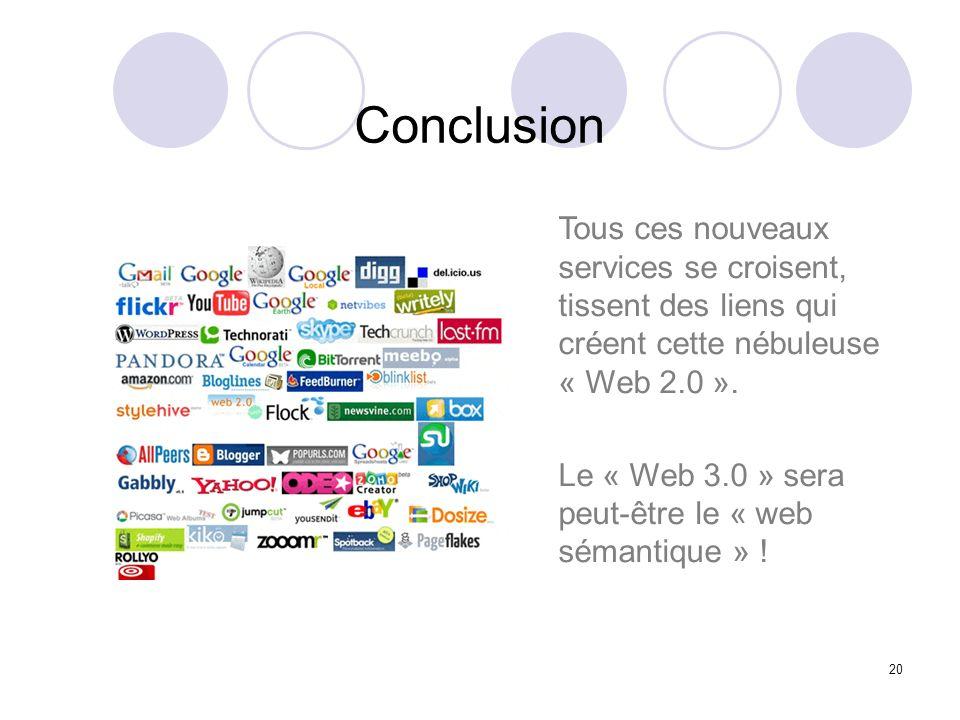 Conclusion Tous ces nouveaux services se croisent, tissent des liens qui créent cette nébuleuse « Web 2.0 ».