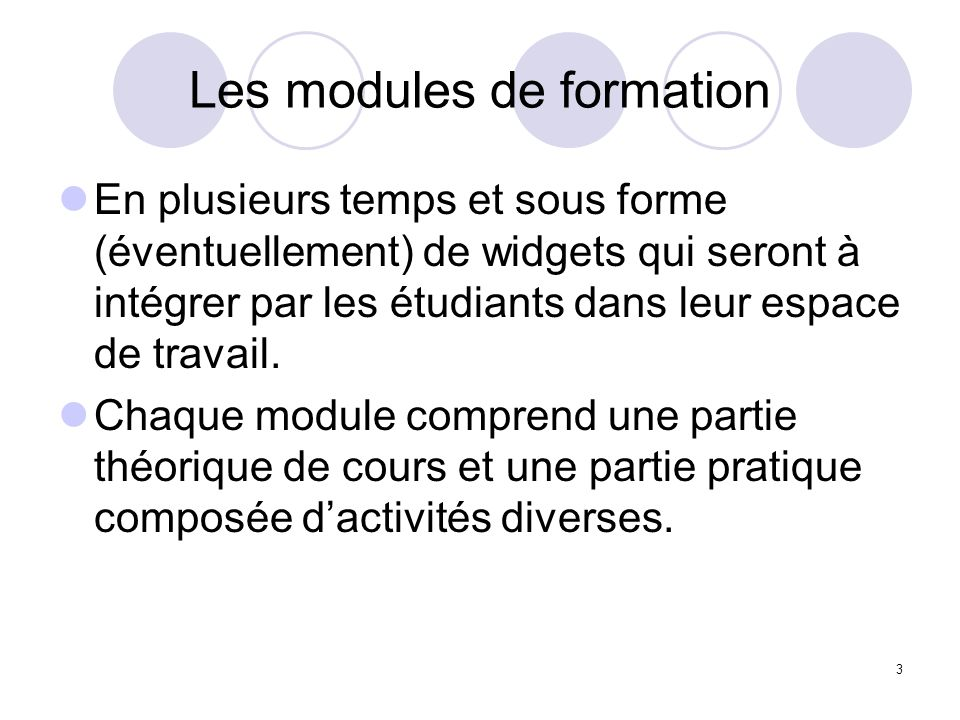 Les modules de formation
