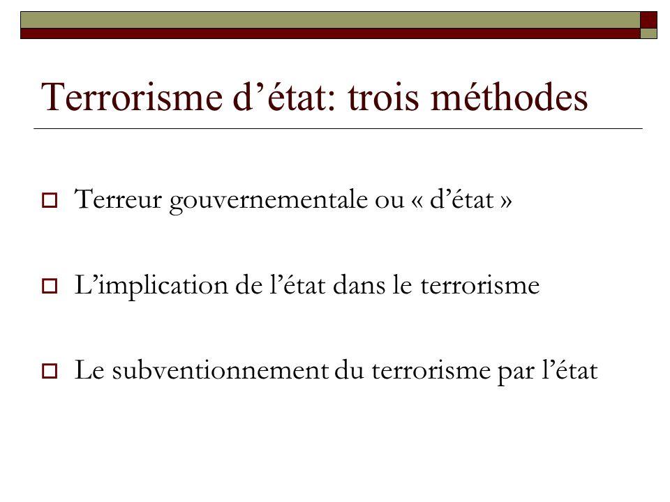 Terrorisme d'état: trois méthodes