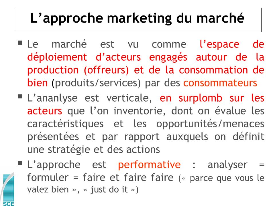 L'approche marketing du marché