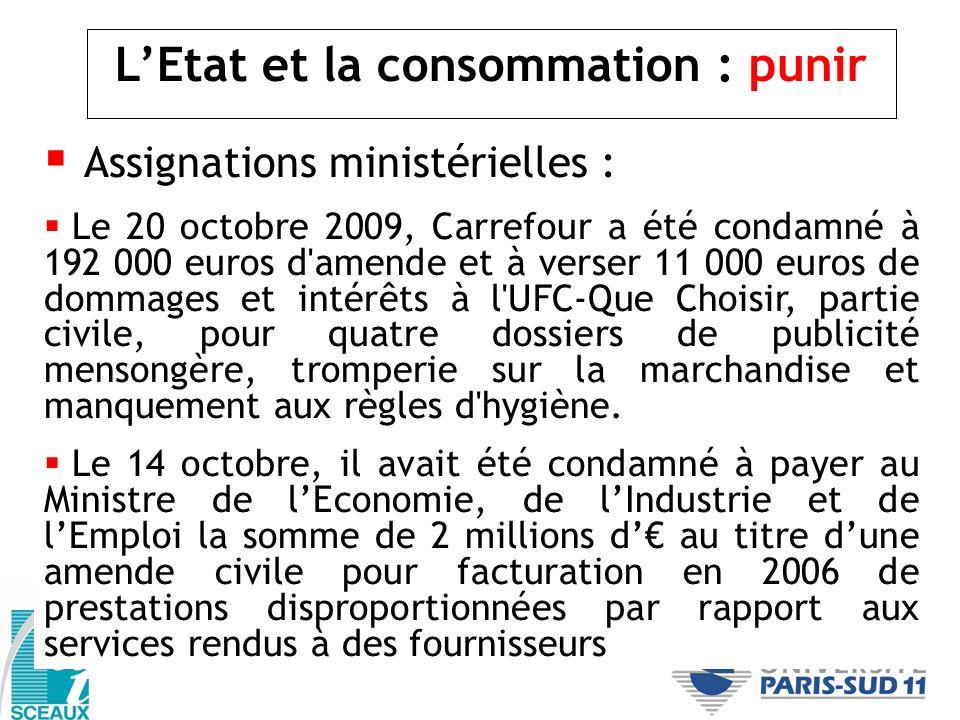 L'Etat et la consommation : punir