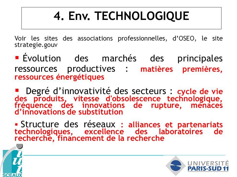 4. Env. TECHNOLOGIQUE Voir les sites des associations professionnelles, d'OSEO, le site strategie.gouv.