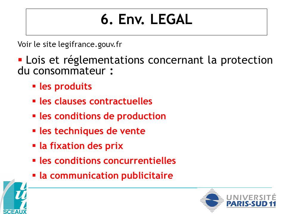 6. Env. LEGAL Voir le site legifrance.gouv.fr. Lois et réglementations concernant la protection du consommateur :
