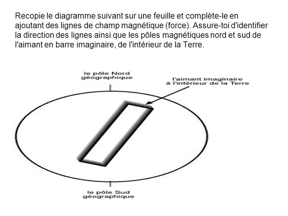 Recopie le diagramme suivant sur une feuille et complète-le en ajoutant des lignes de champ magnétique (force).