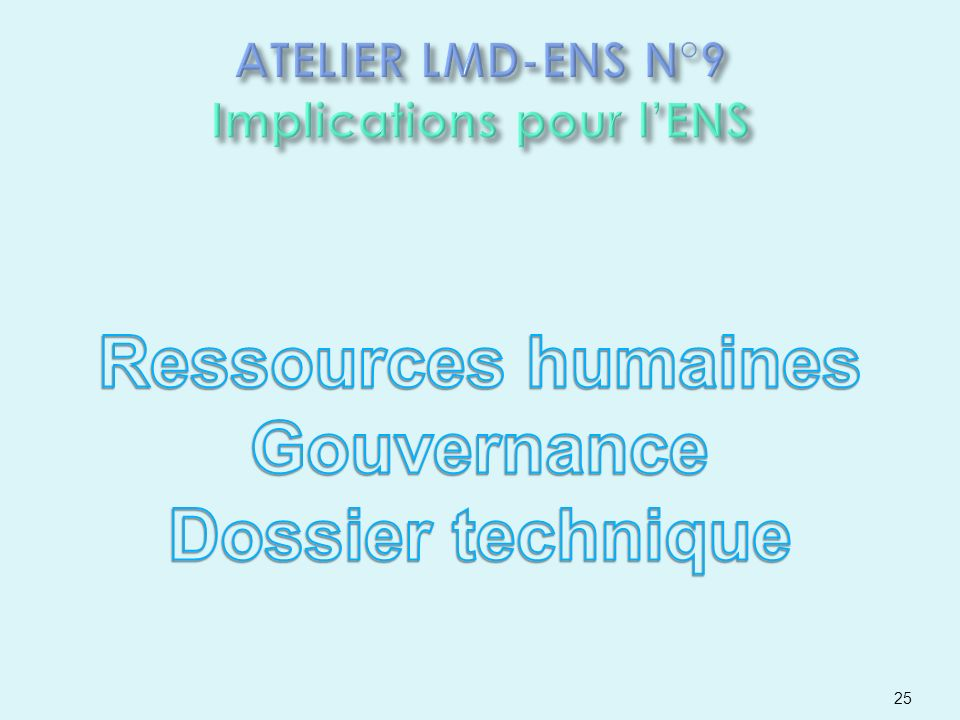 ATELIER LMD-ENS N°9 Implications pour l'ENS