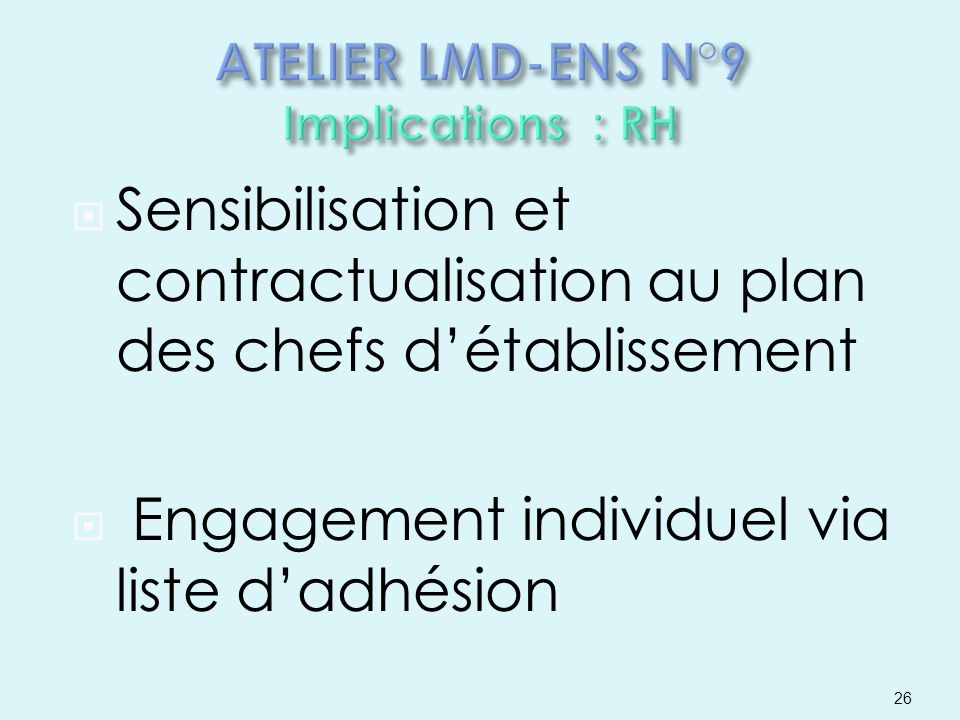 ATELIER LMD-ENS N°9 Implications : RH