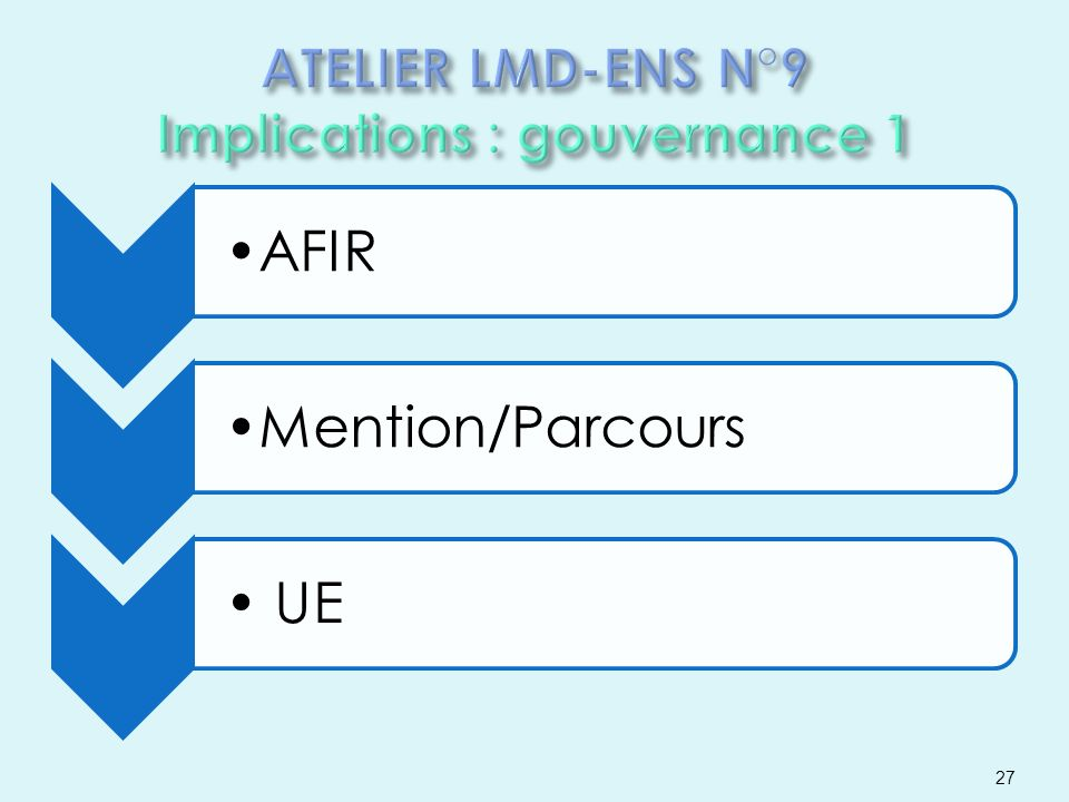 ATELIER LMD-ENS N°9 Implications : gouvernance 1
