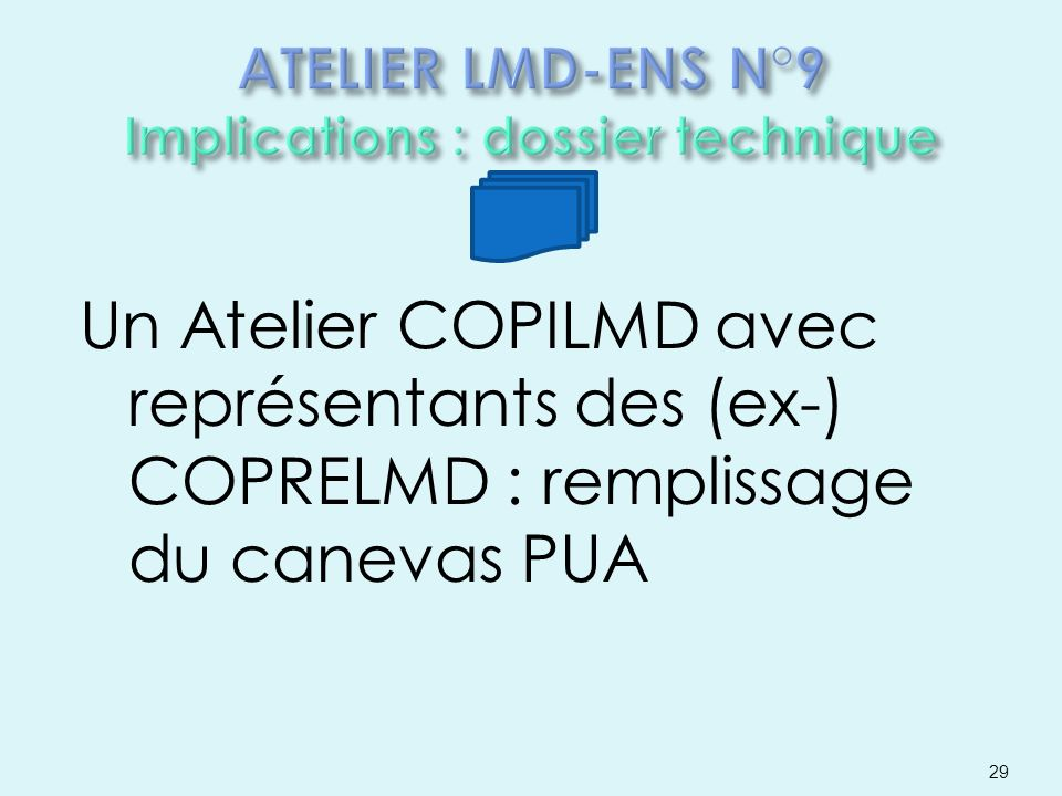 ATELIER LMD-ENS N°9 Implications : dossier technique