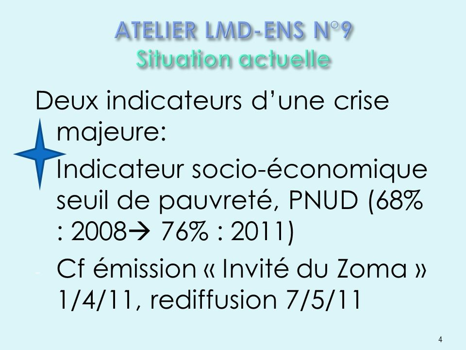 ATELIER LMD-ENS N°9 Situation actuelle