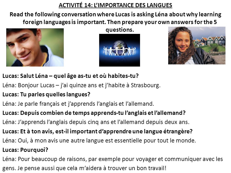 ACTIVITÉ 14: L'IMPORTANCE DES LANGUES