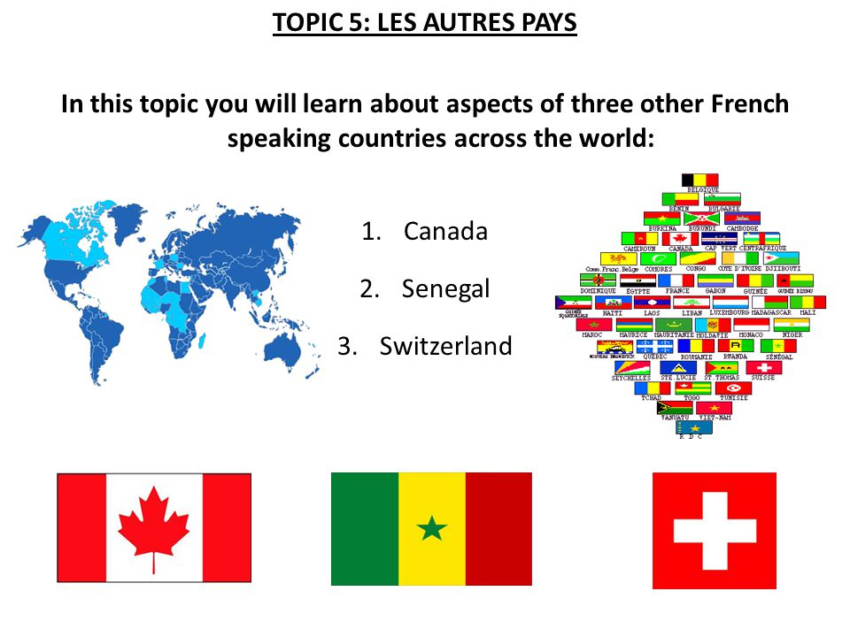 TOPIC 5: LES AUTRES PAYS In this topic you will learn about aspects of three other French speaking countries across the world: