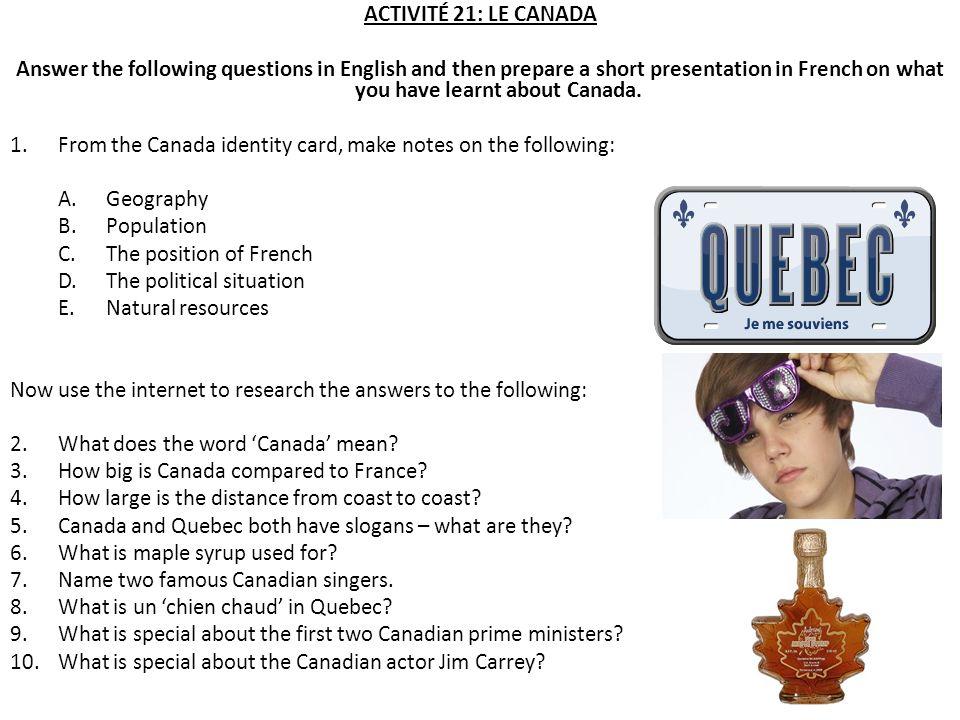 ACTIVITÉ 21: LE CANADA
