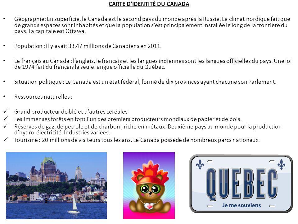 CARTE D'IDENTITÉ DU CANADA