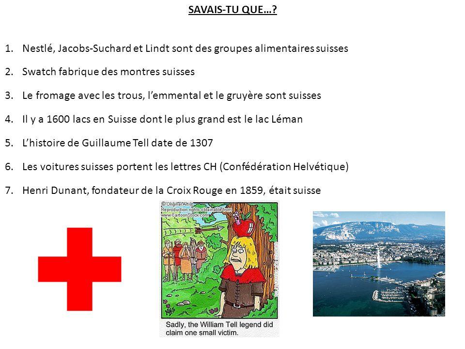 SAVAIS-TU QUE… Nestlé, Jacobs-Suchard et Lindt sont des groupes alimentaires suisses. Swatch fabrique des montres suisses.