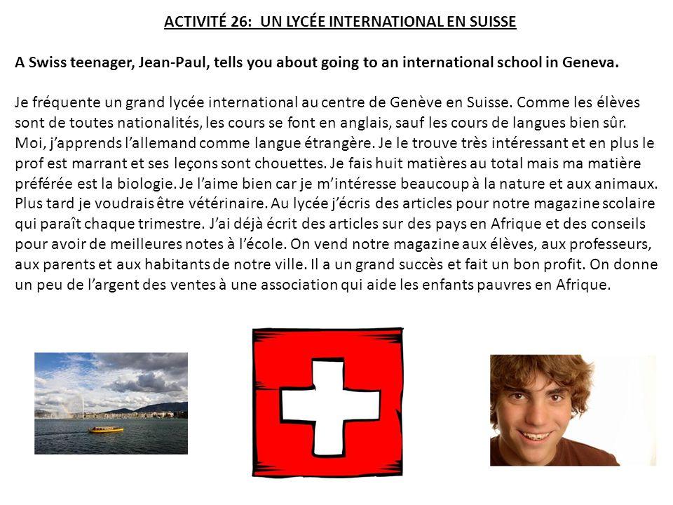 ACTIVITÉ 26: UN LYCÉE INTERNATIONAL EN SUISSE