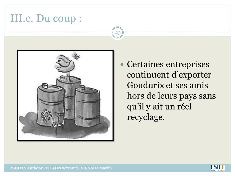 III.c. Du coup : Certaines entreprises continuent d'exporter Goudurix et ses amis hors de leurs pays sans qu'il y ait un réel recyclage.