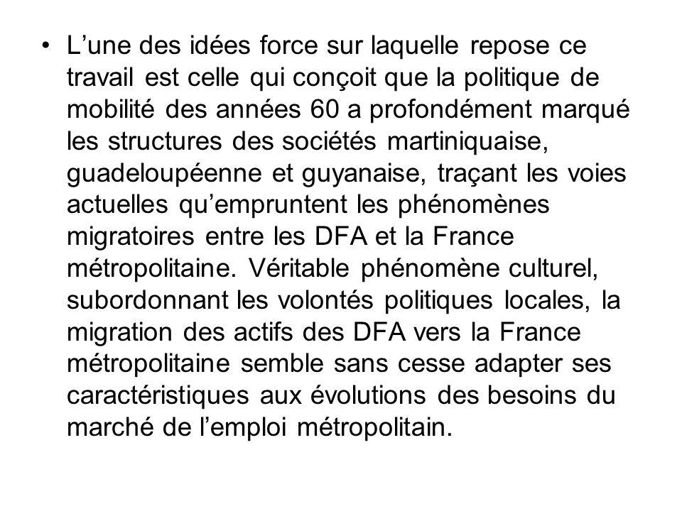 L'une des idées force sur laquelle repose ce travail est celle qui conçoit que la politique de mobilité des années 60 a profondément marqué les structures des sociétés martiniquaise, guadeloupéenne et guyanaise, traçant les voies actuelles qu'empruntent les phénomènes migratoires entre les DFA et la France métropolitaine.