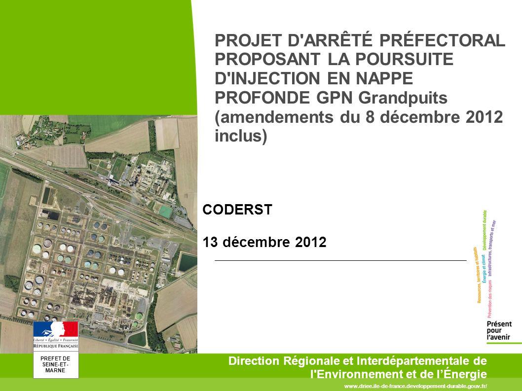 PROJET D ARRÊTÉ PRÉFECTORAL PROPOSANT LA POURSUITE D INJECTION EN NAPPE PROFONDE GPN Grandpuits (amendements du 8 décembre 2012 inclus)