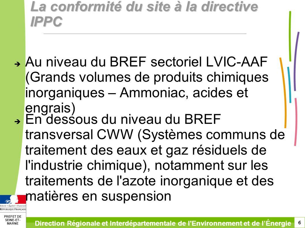 La conformité du site à la directive IPPC