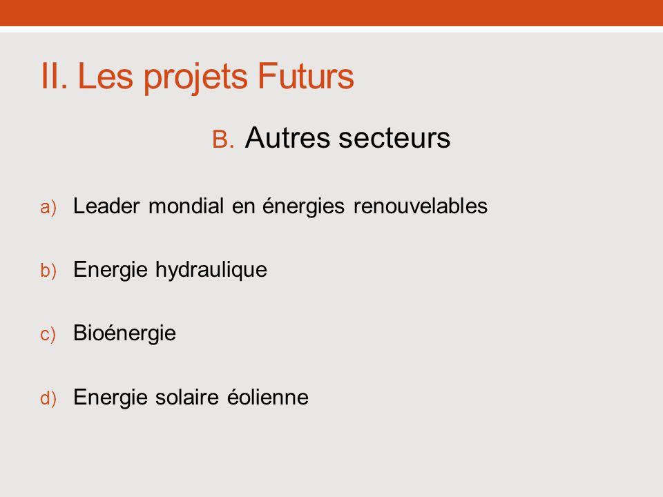 II. Les projets Futurs Autres secteurs