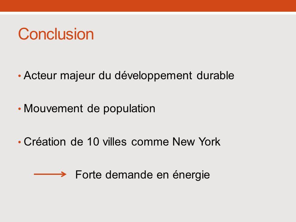 Conclusion Acteur majeur du développement durable