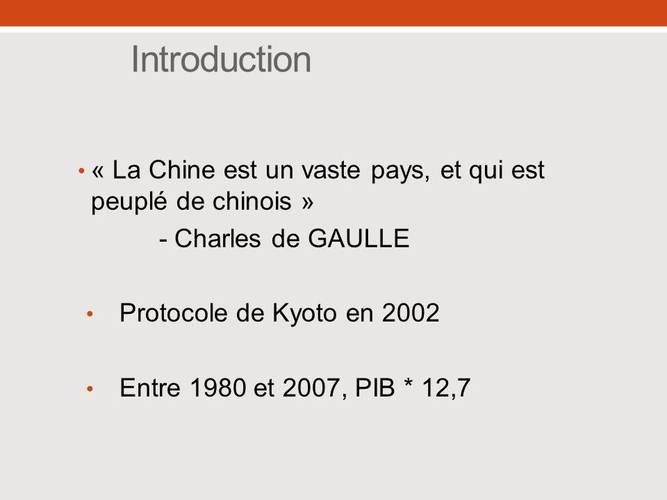 Introduction « La Chine est un vaste pays, et qui est peuplé de chinois » - Charles de GAULLE. Protocole de Kyoto en 2002.