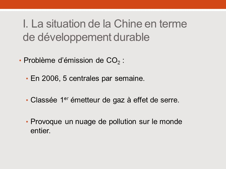 I. La situation de la Chine en terme de développement durable