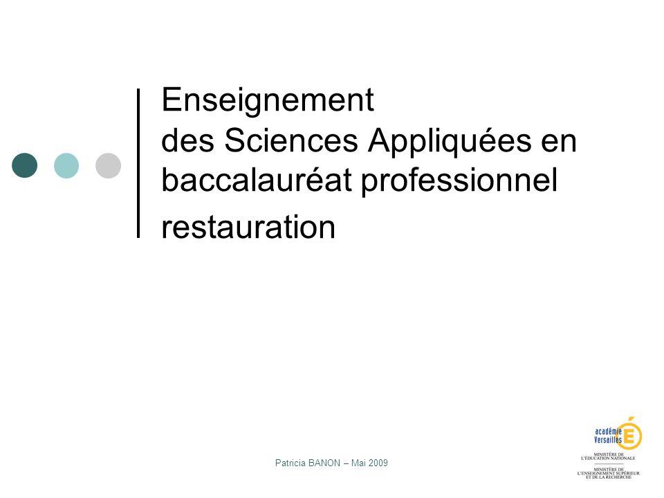 Enseignement des Sciences Appliquées en baccalauréat professionnel restauration