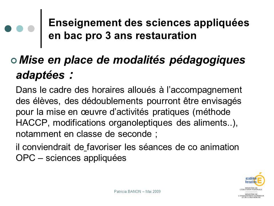 Enseignement des sciences appliquées en bac pro 3 ans restauration