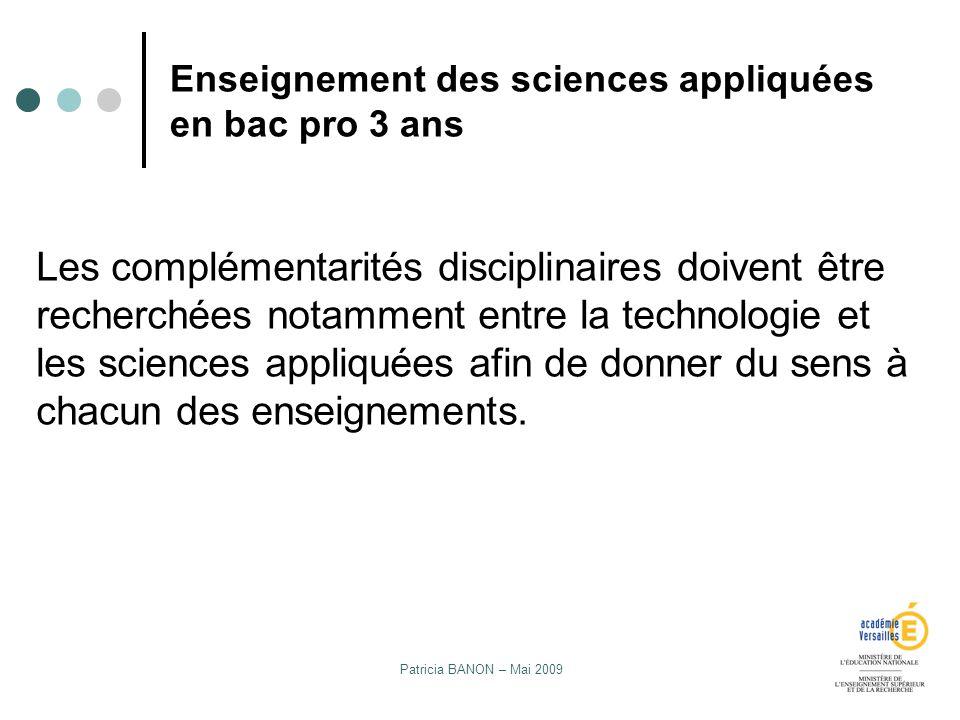 Enseignement des sciences appliquées en bac pro 3 ans