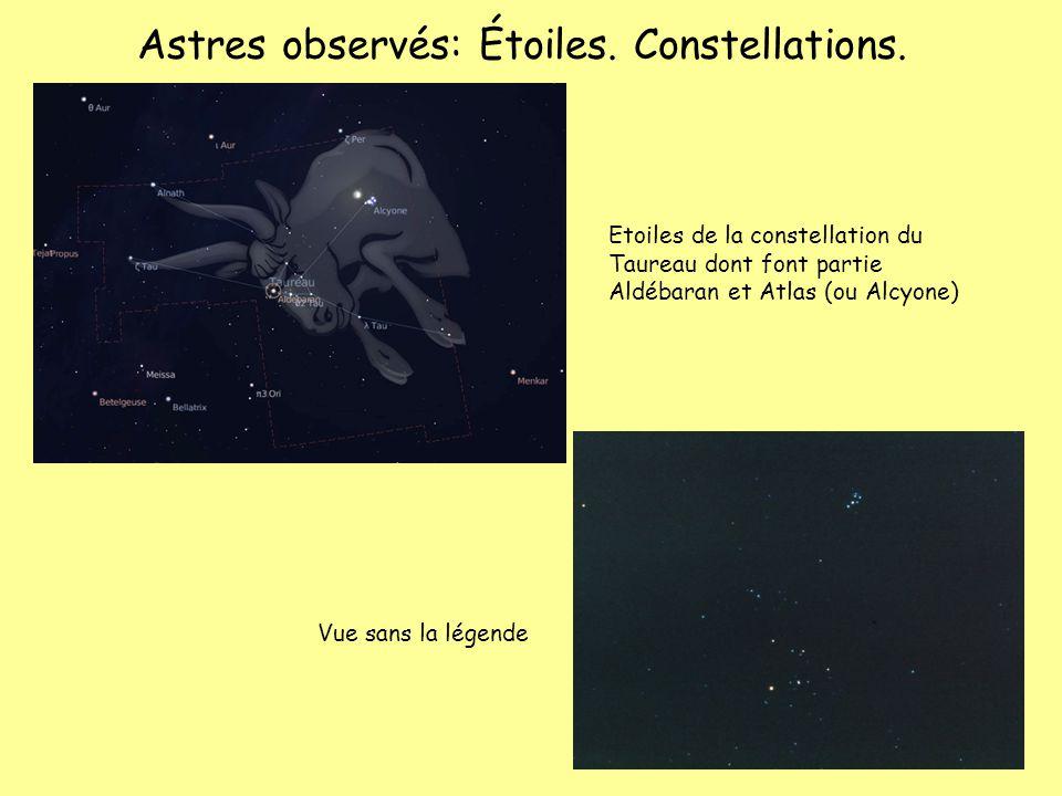 Astres observés: Étoiles. Constellations.