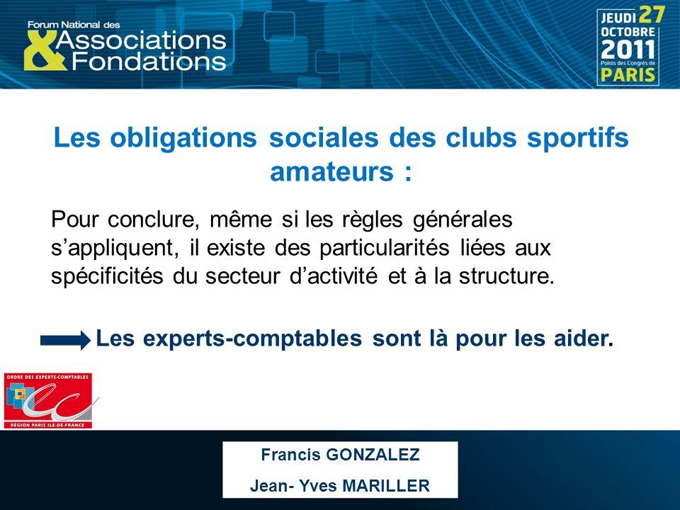 Les obligations sociales des clubs sportifs amateurs :