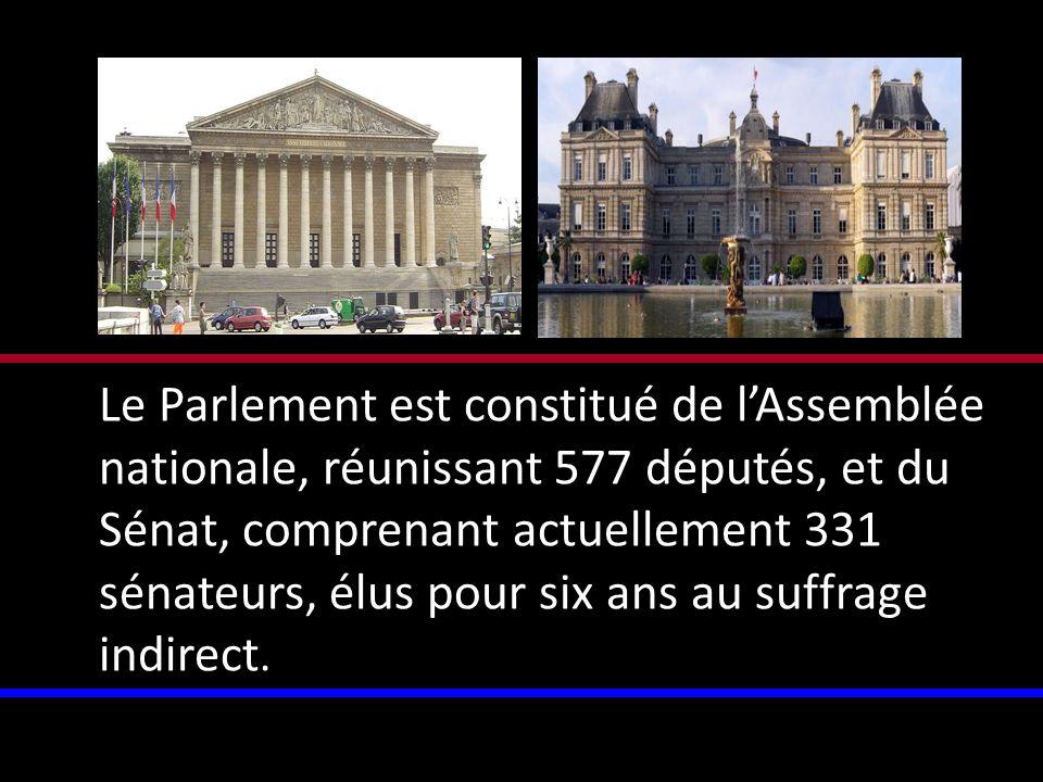 Le Parlement est constitué de l'Assemblée nationale, réunissant 577 députés, et du Sénat, comprenant actuellement 331 sénateurs, élus pour six ans au suffrage indirect.
