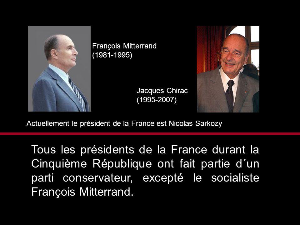 François Mitterrand (1981-1995) Jacques Chirac. (1995-2007) Actuellement le président de la France est Nicolas Sarkozy.