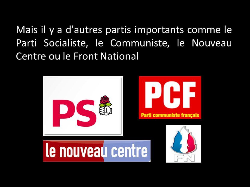 Mais il y a d autres partis importants comme le Parti Socialiste, le Communiste, le Nouveau Centre ou le Front National