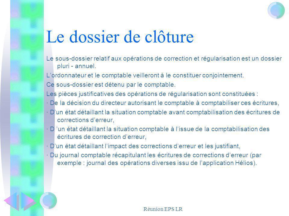 Le dossier de clôture Le sous-dossier relatif aux opérations de correction et régularisation est un dossier pluri - annuel.