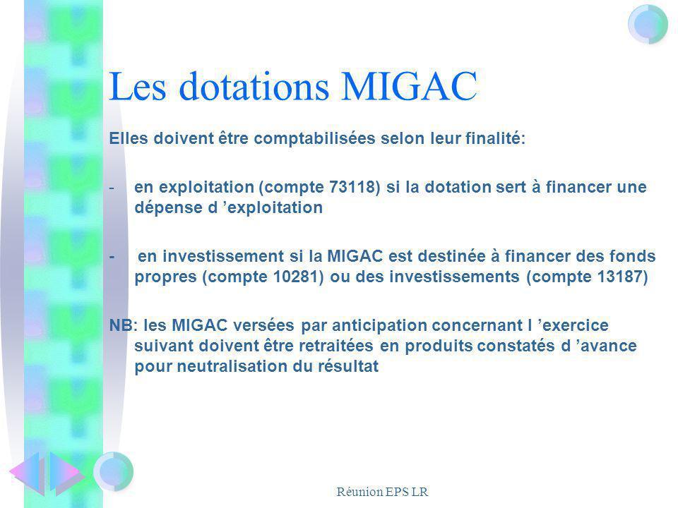 Les dotations MIGAC Elles doivent être comptabilisées selon leur finalité: